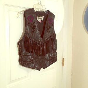 Jackets & Blazers - Black fringe leather vest